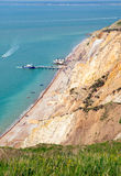 Alum Bay beach Isle of Wight next to the Needles tourist attraction Royalty Free Stock Photo