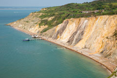 Alum Bay beach Isle of Wight next to the Needles tourist attraction Royalty Free Stock Image