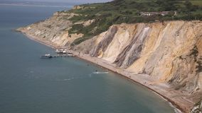 Alum Bay Isle of Wight beautiful beach and rocks Stock Photography