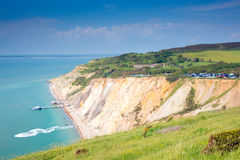Alum Bay Isle of Wight next to the Needles tourist attraction Stock Photos