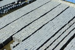 Aluminimumvoorraad in de Haven van Salerno, Italië Stock Foto's
