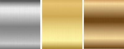 Aluminio, bronce y texturas cosidas latón Imagen de archivo