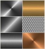 Aluminio, oro, bronce, conjunto de acero del material Imágenes de archivo libres de regalías