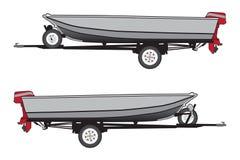 Aluminiowa łódź na przyczepie Zdjęcia Royalty Free