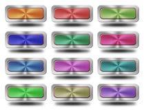 Aluminiowa glansowana ikona, guzik, Obrazy Stock