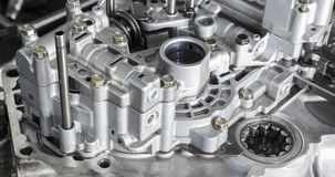 Aluminiowa skrzynka i części tworzymy samochodowego przekładni tramsmission zdjęcia stock