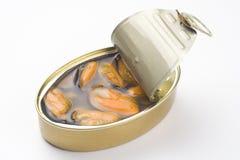 aluminiowej puszka zakonserwowany jedzenie odizolowywający nad biel Zdjęcie Stock