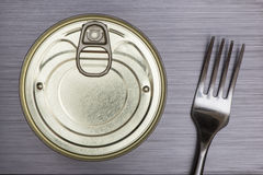 Aluminiowy jedzenie może i rozwidlenie Fotografia Royalty Free