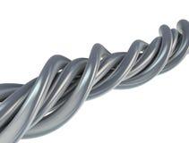 Aluminium abstracte draad op wit Royalty-vrije Stock Fotografie