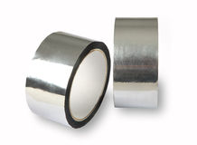 Aluminium adhesive tape, metal-foil adhesive tape,  photo of two Stock Photos
