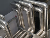 Aluminium air treatment pipes. Aluminium pipes for heating and ventilation systems Stock Photography