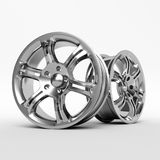 Aluminum wheel image 3D high quality rendering. White picture figured alloy rim for car, tracks. Best used for Motor Show promotio. Aluminum wheel image 3D high Royalty Free Stock Photos