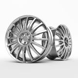Aluminum wheel image 3D high quality rendering. White picture figured alloy rim for car, tracks. Best used for Motor Show promotio. Aluminum wheel image 3D high Royalty Free Stock Images
