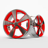 Aluminum wheel image 3D high quality rendering. White picture figured alloy rim for car, tracks. Best used for Motor Show promotio Stock Photography