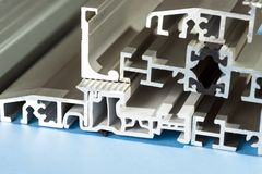 Aluminium anodized profile cross section pvc aluminium composite closeup. Aluminium anodized profile pvc closeup royalty free stock image