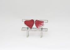Aluminum bench with hearts Stock Photo