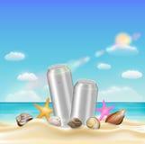 Aluminium beverage can  and sea shell starfish on a sea sand beach Stock Photos