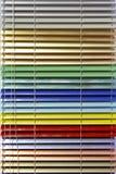 Aluminium blinds. Metallic aluminium blinds in all colors of rainbow royalty free stock photos