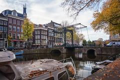 The Aluminium bridge over the canal Kloveniersburgwal in the old Royalty Free Stock Image