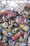 Aluminium can recycling bin stock photo
