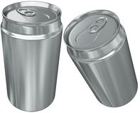 Aluminium can in two foreshortening. Isolated on a white background Stock Image