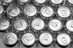 Aluminium cans. Top view of aluminium cans stock photo