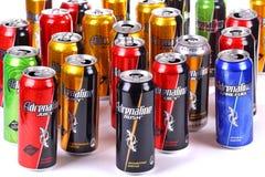 Adrenaline Rush. Aluminium cans of the Adrenaline Rush over white background royalty free stock image