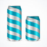 Aluminium Cans with Blue Stripes. Vector Stock Images