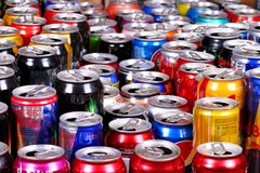 Aluminium cans. Many aluminium cans of sparkling drinks Fanta, Sprite, Coca-Cola, Adrenalin Rush, Dr Pepper, Burn, Red Bull, Schweppes etc. staying in rows royalty free stock photography