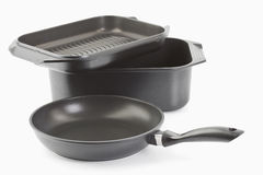Aluminium cast frying pans Royalty Free Stock Photo