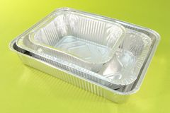 Aluminium catering trays Stock Photos