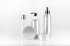Aluminium cosmetic dispenser bottles and cartridges Royalty Free Stock Photography