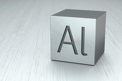 Aluminium cube with Al mark Stock Photo