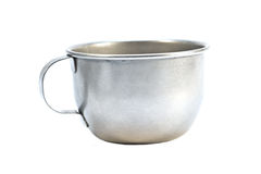 Aluminium cup isolated on white. Old prisoners aluminum cup isolated Royalty Free Stock Photos