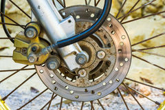 Aluminium disc brake. For safety in motorbike Royalty Free Stock Photo