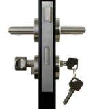 Aluminium door handle. Aluminium door knob on the black door white background Royalty Free Stock Image