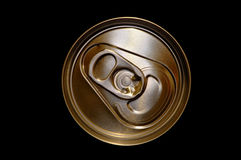 Aluminium drink can. Overhead view of aluminium drink can with black background Stock Photos