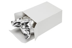 Aluminium foil bag in paper box Royalty Free Stock Photography