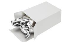 Aluminium foil bag in paper box. Vacuum packed cereal aluminium foil bag in paper box on white background Royalty Free Stock Photography