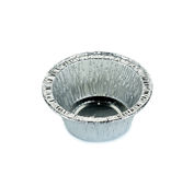 Aluminium foil cup isolated on the white background.  Royalty Free Stock Image