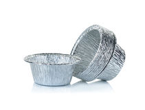 Aluminium foil cup isolated on the white background Stock Image