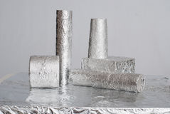 Aluminium foil figures Stock Photos