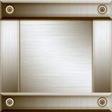 Aluminium frame. Polished aluminium plate with frame stock illustration
