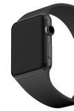 Aluminium futé de noir de montre avec la couleur noire de boucle Images stock