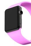 Aluminium futé de noir de montre avec la couleur rose de boucle Photo stock