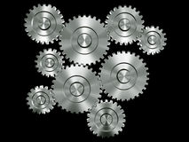 Aluminium gears Royalty Free Stock Photos
