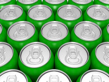 Aluminium green beer cans Stock Image