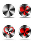 Aluminium heart buttons Stock Images
