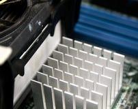 Aluminium heatsink op de schijf zoals die van omhoog dicht wordt gezien royalty-vrije stock foto's