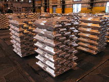 Aluminium ingots Royalty Free Stock Images